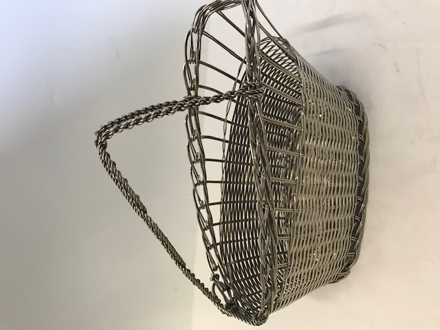 Silver Plated Wine Bottle Cradle with Basket Weave Body