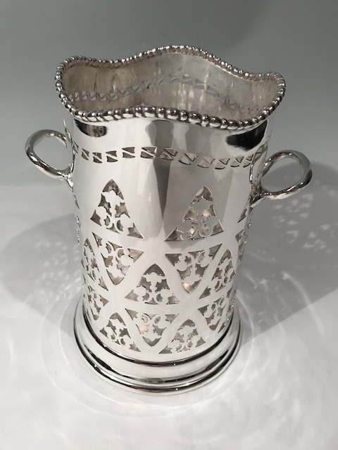 Silver Plated Wine Bottle Holder with Pierced Body
