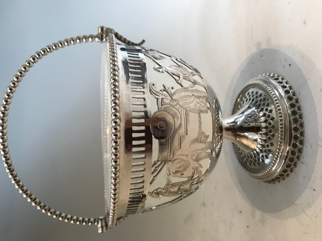 Antique Silver Plated Jam Preserve Dish Engraved with Roman Scenes