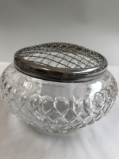 Vintage Cut Crystal Silver Plated Mounted Rose Bowl