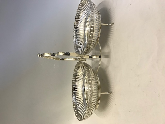 Unusual Antique Silver Plated Two Dishes Cake Stand