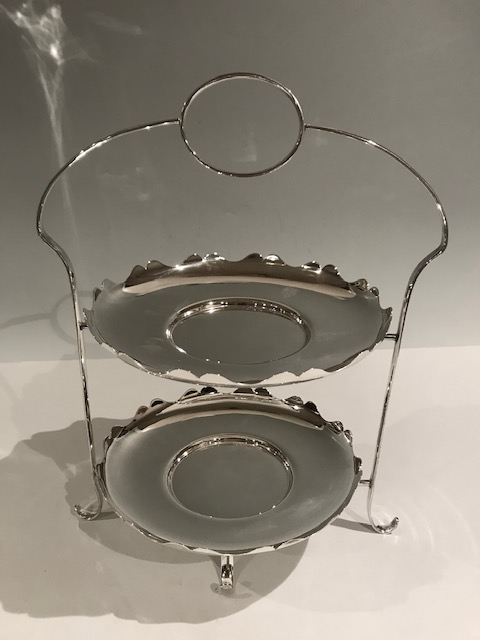 Handsome Two Tier Silver Plated Cake Stand