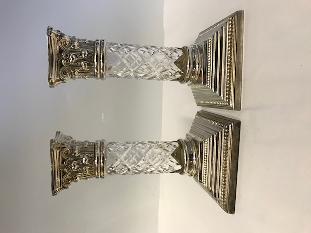 Pair Silver Plated Squat Candlesticks with Diamond Cut Glass Body