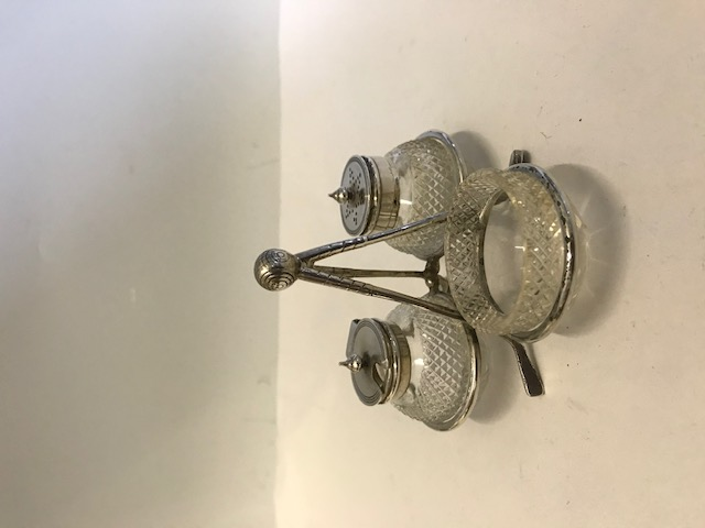 Vintage golf club and golf ball silver plated and cut glass cruet