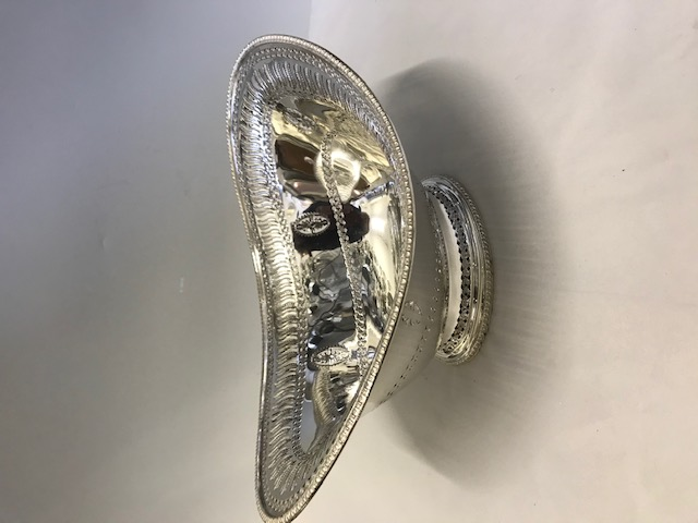 Large Antique Silver Plated Bread Roll Dish with Stylishly Pierced and Engraved Body