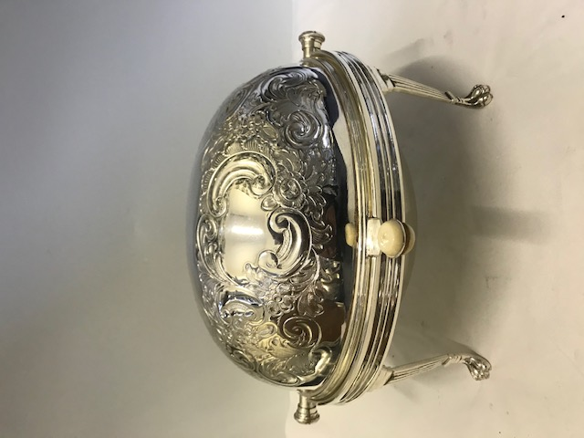 Antique Silver Plated Rollover Breakfast Bacon Serving Dish with Elaborately Embossed Dome