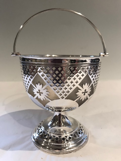 Silver Plated Pierced Dish with Frosted Glass Liner and Swing Handle