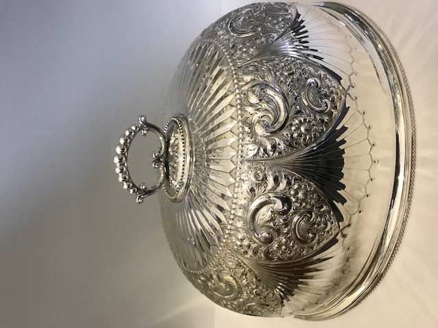Antique Victorian Large Elaborately Embossed Silver Plated Meat Cover Dome