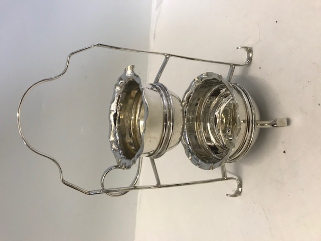 Antique Silver Plated Two Tier Novelty Cream and Sugar Stand