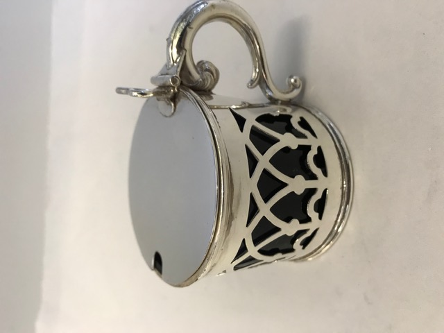 Silver Plated Drum Shaped Mustard Pot Almost Gothic Pierced Sides
