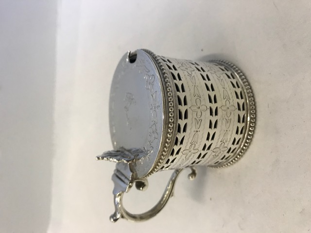 Silver Plated Drum Shaped Mustard Pot with a Stylish Thumb Piece