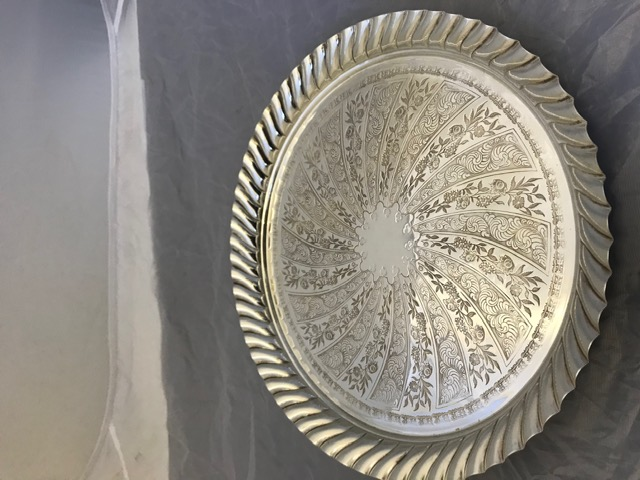 Antique Circular Silver Plated Salver Mounted with an Angular Swirl Rim
