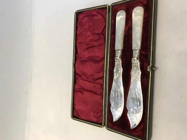 Silver Plated Boxed Butter Knives with Mother of Pearl Handles