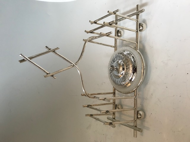 Antique Silver Plated Toast Rack and Glass Butter Dish Combo