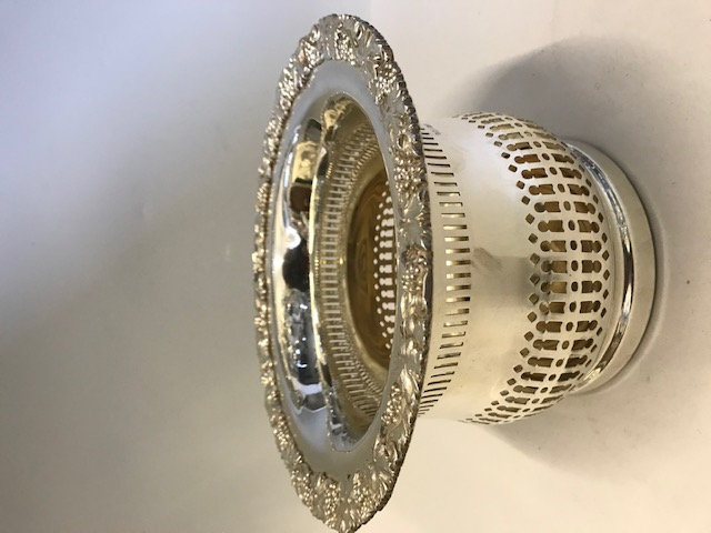 Antique Silver Plated Champagne Coaster with Grape and Vine Decoration