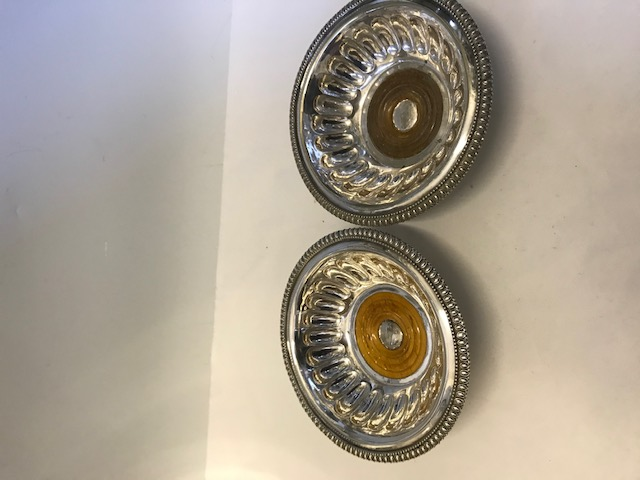 Pair of Antique Elkington Silver Plated Wine Coasters