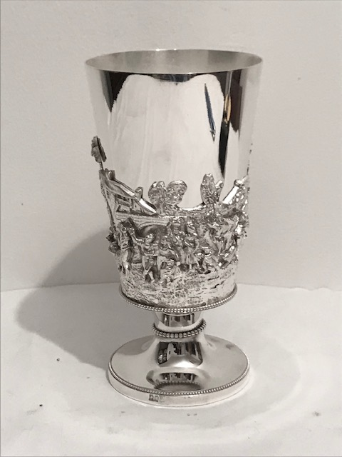 Victorian Silver Plated Beaker Standing on a Pedestal Base
