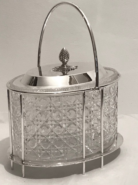Victorian Silver Plated and Cut Glass Oval Biscuit Box