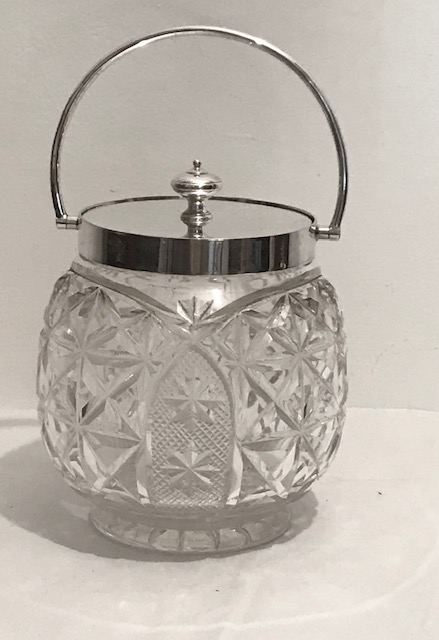 Antique Silver Plated and Cut Glass Biscuit Box with Silver Plated Rim