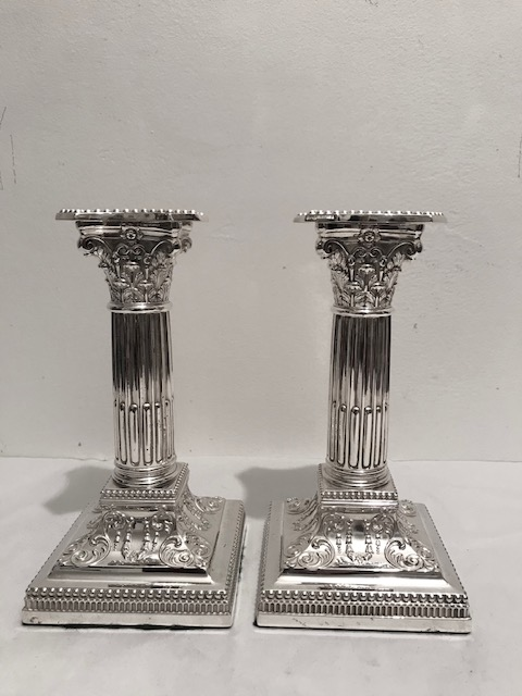Charming Pair of Antique Silver Plated Candlesticks by James Dixon & Sons