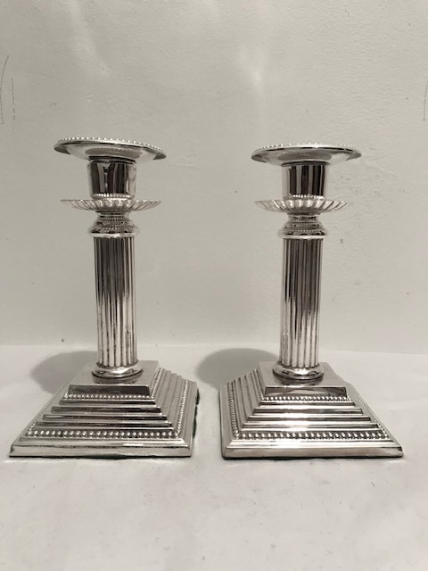 Antique Pair of Silver Plated Reeded Column Candlesticks