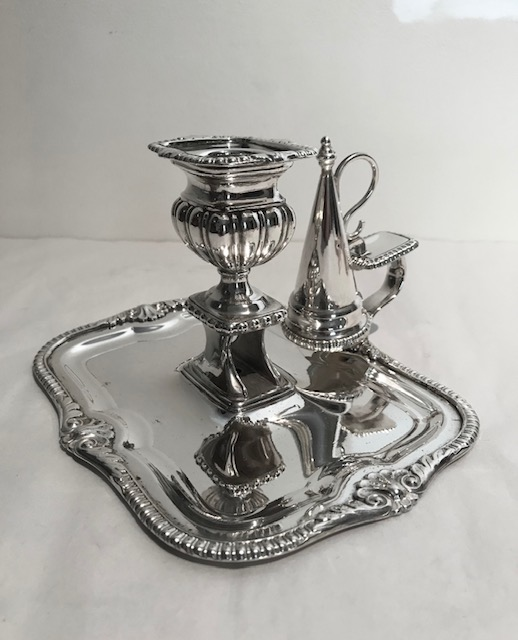 Antique Silver Plated Chamberstick and Snuffer