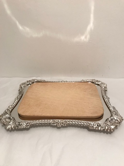 Antique Silver Plated and Wood Rectangular Bread and Cheese Board