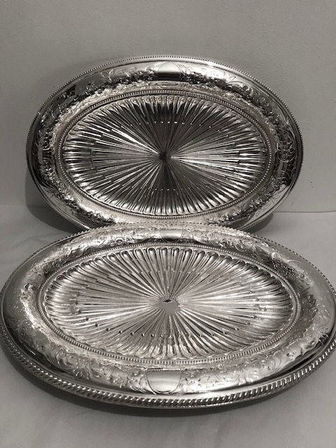 Pair of Elkington Antique Silver Plated Oval Fruit or Bread Dishes