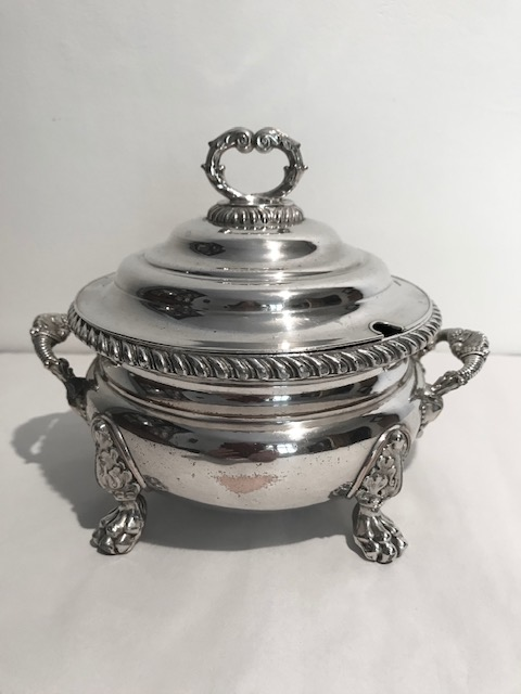 Antique Old Sheffield Plate Sauce Tureen with Four Paw Feet