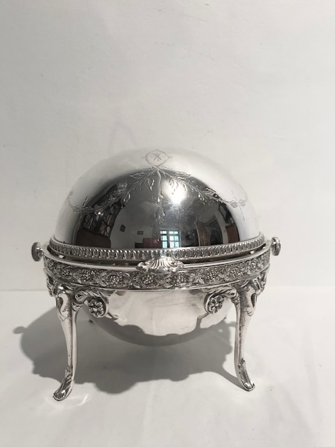 Antique Silver Plated Round Butter Dish