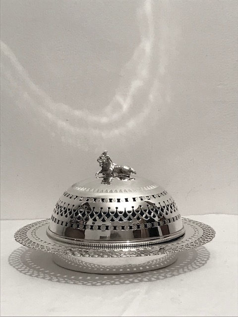 Antique Silver Plated Butter or Preserve Dish with Turquoise Glass Liner