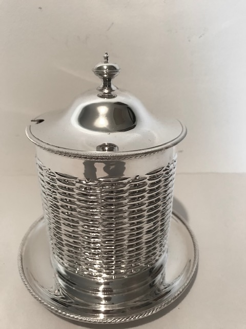 Antique Silver Plated Jam Marmalade Server with Blue Glass Liner