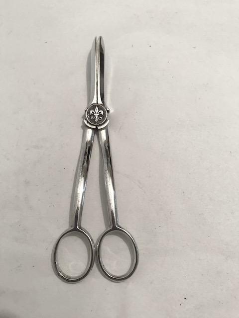 Antique Silver Plated Grapes Shears with Boy Scouts Emblem