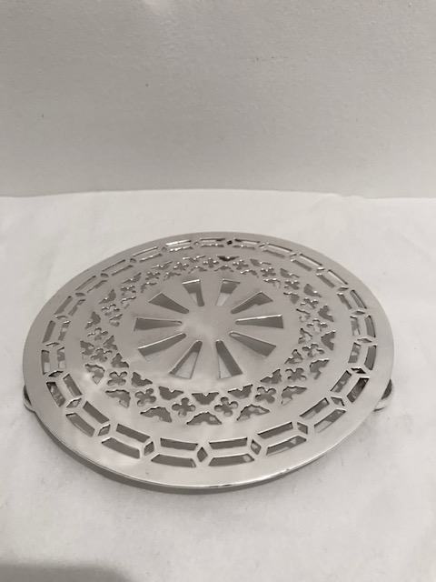 Vintage Round Pierced Silver Plated Tea Pot Stand