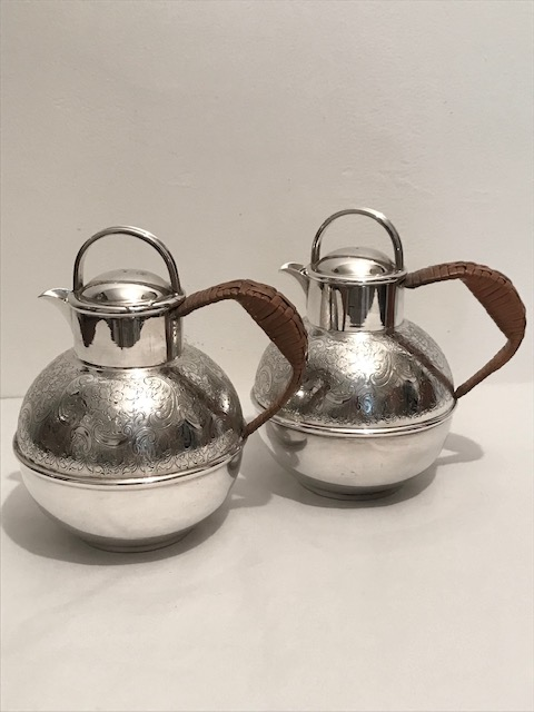 Novelty Pair of Antique Silver Plated Milk Jugs in the Shape of Jersey Cans