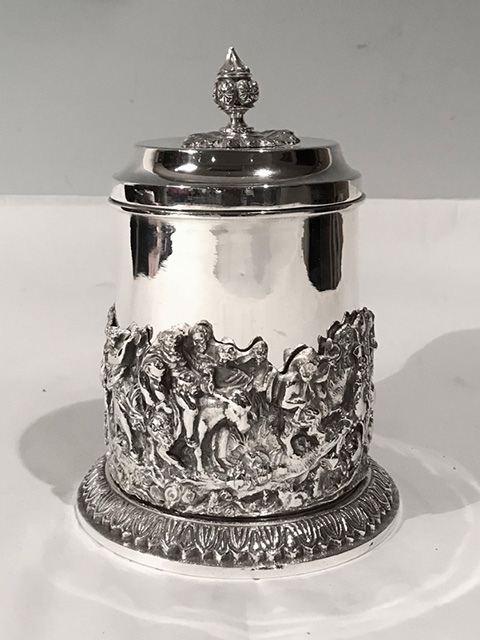 Antique silver plated box with applied relief of a farm scene