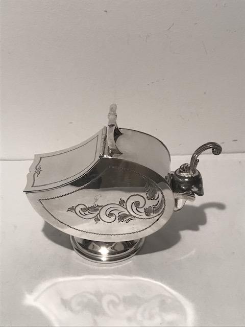 Antique Silver Plated Coal Scuttle Shaped Sugar Scuttle