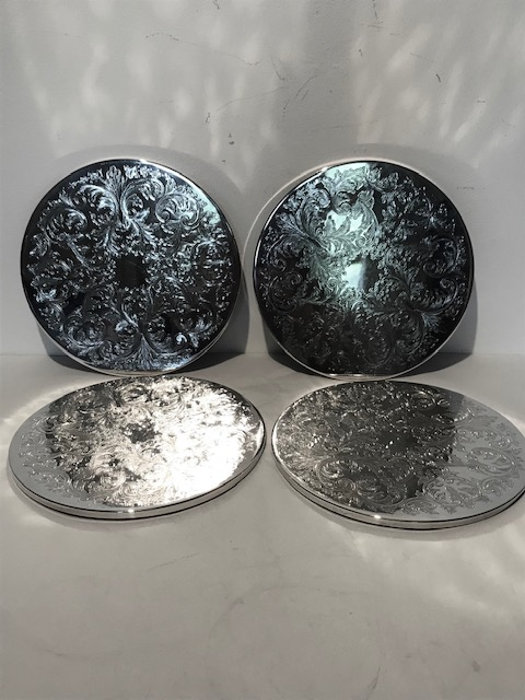 Set of 4 Vintage Silver Plated Place Mats