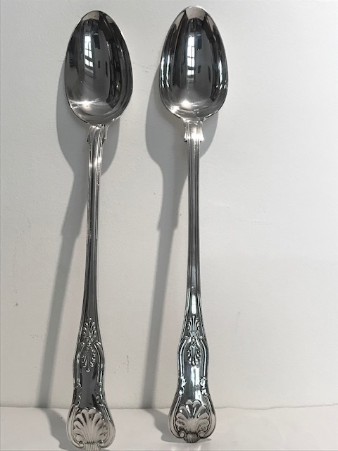 Pair of Antique Silver Plated Kings Pattern Serving or Basting Spoons