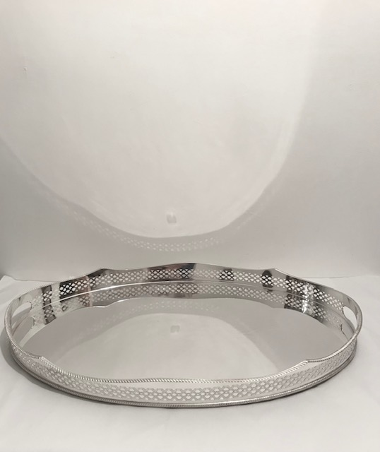 Vintage Silver Plated Gallery Tray with Cut Out Handles on Four Button Feet