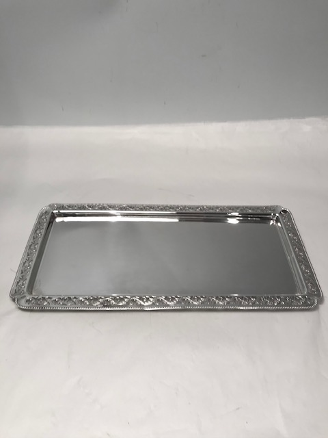 Vintage Rectangular Silver Plated Tray with Finely Pierced and Engraved Surround