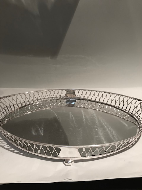 Antique Silver Plated Gallery Tray on Four Bun Feet