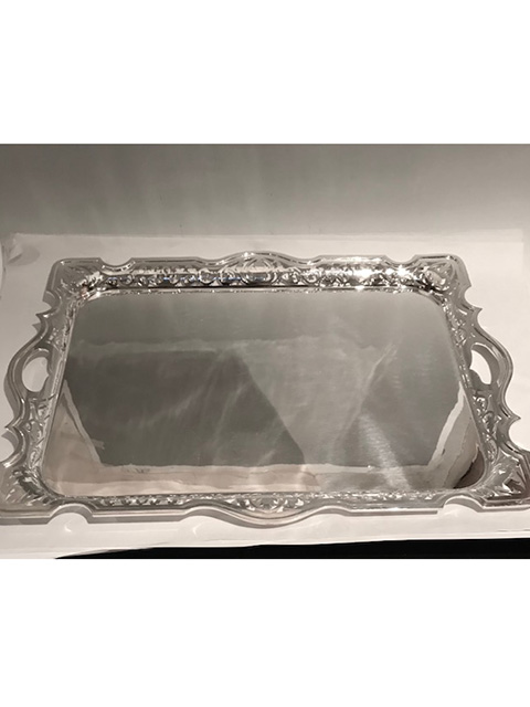 Antique Silver Plated Tray with Pierced Border of Scrolls and Leaves