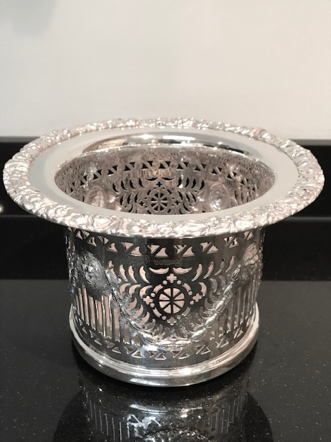 Antique Silver Plated Champagne Coaster with Tall Pierced Gallery
