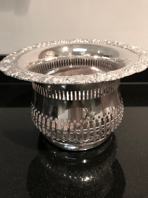 Antique Silver Plated Pierced Shaped Body Champagne or Wine Bottle Coaster