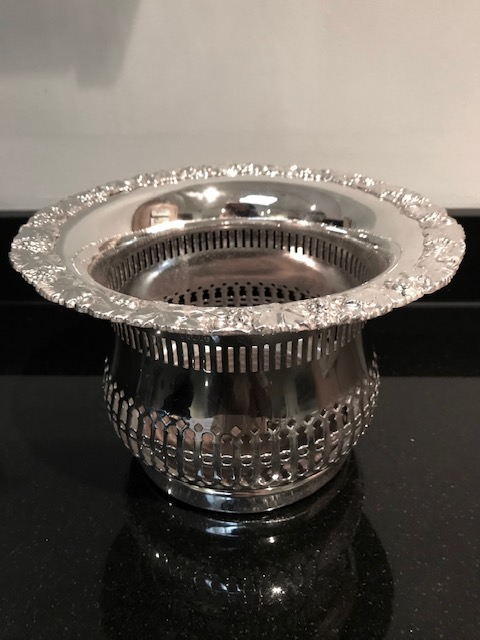 Large Antique Silver Plated Bulbous Body Champagne Wine or Decanter Coaster