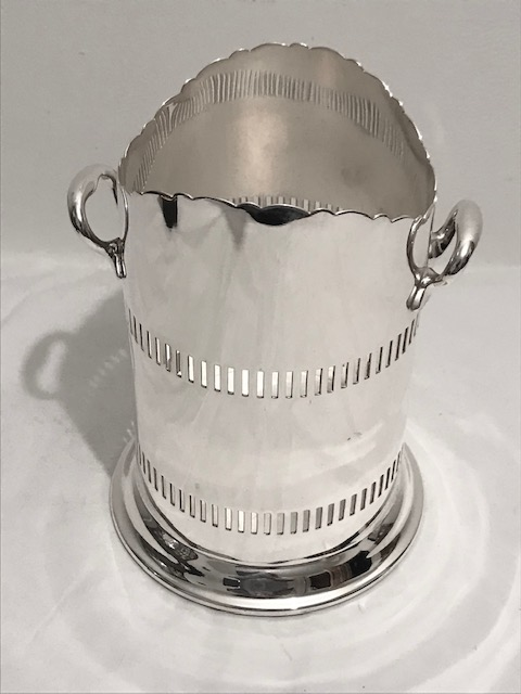 Antique Mappin & Webb Silver Plated Wine Bottle Sleeve Holder Stand