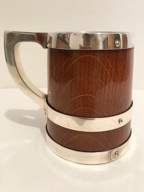 Handsome Antique Banded Silver Plated and Oak Tankard