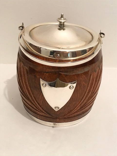 Antique Silver Plated and Oak Biscuit Ice Barrel Carved with Fronds